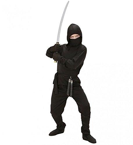5-teiliges Ninja Kostüm für Jungen schwarz Kinder Samurai Kämpfer Teenager, Kindergröße:158