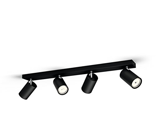 Philips Lighting Black LED Spot Light Philips Faretto Kosipo con 4 Punti Luce, Attacco GU10, Lampadina Non Inclusa, Nero, 7x62.8x9.2 cm