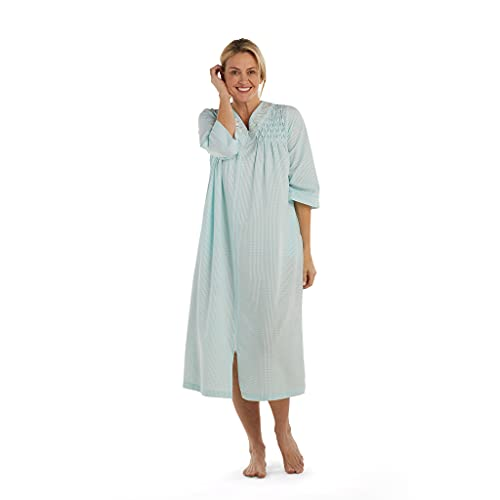 Miss Elaine Robe - Women's Seersucker Long Robe, 3/4 Sleeves, Beautiful Hand Smocking, Two Insert Pockets and Zip Front (Large, Aqua/White Check)