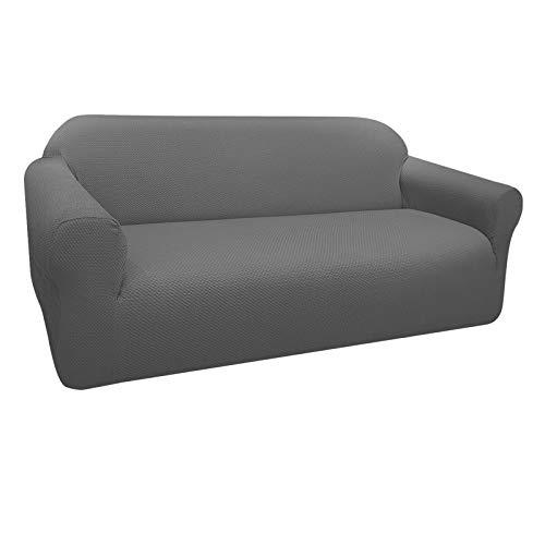 Granbest Thick Sofabezug Stylish Pattern Sofaüberzug für Sofa Stretch Elastische Jacquard Sofahusse Couchhusse mit Armlehne für Wohnzimmer Anti-Rutsch (3 Sitzer, Hellgrau)