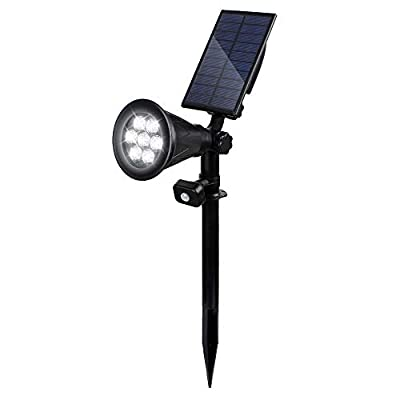 T-SUN Solar Spotlight LED Outdoor Wall Light, IP65 Waterproof, Auto-on At Night/Auto-off By Day, 180°angle Adjustable for Tree, Patio, Yard, Garden, Driveway, Stairs, Pool Area