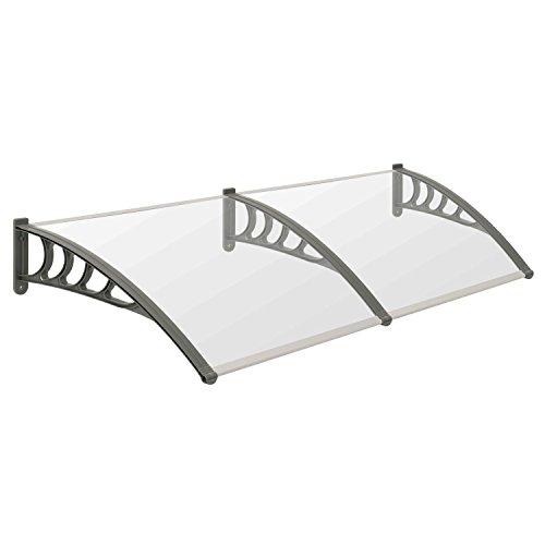 Vordach für Haustür, Terrasse und Garten, transparente PC Dachplatten, in verschiedenen Größen ((B) 200 x (T) 100 cm)