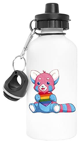 Panda Pride Holding Rainbow Heart Aluminio Reutilizable Deporte Viaje Botella de Agua Blanco Aluminium Reusable Sport Travel Water Bottle White