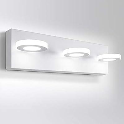 OOWOLF LED Bathroom Vanity Lights 17 Inch Bathroom Light Fixtures 3 Lights Acrylic Stainless Steel Wall Light Indoor for Bathroom Lighting 6000K 1200LM Cool White Light