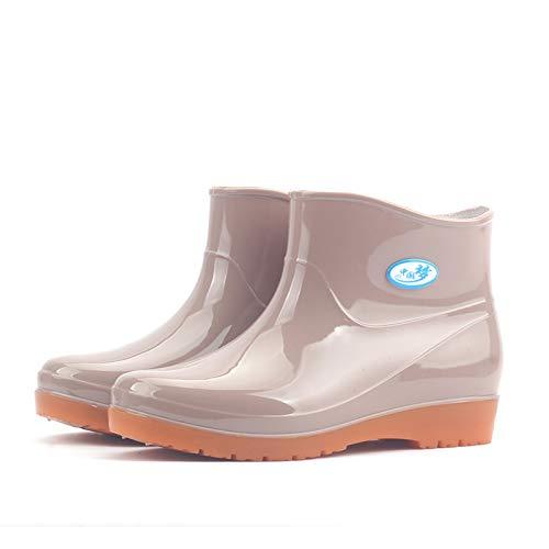 Huhu833 Gummistiefel Damen Kurz Frauen Regenstiefel Stiefeletten Gartenarbeit Mode Outdoor Boots Wasserschuhe Rain Boot Gartenschuhe Gummistiefeletten Rot Grün Beige (Beige, 38 EU)