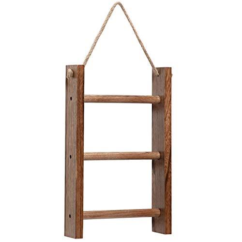 Y&ME YM - Escalera de madera con cuerda para colgar en la pared, diseño rústico decorativo de tres niveles para escaleras, soporte y organizador para almacenamiento de paños y toallas de mano