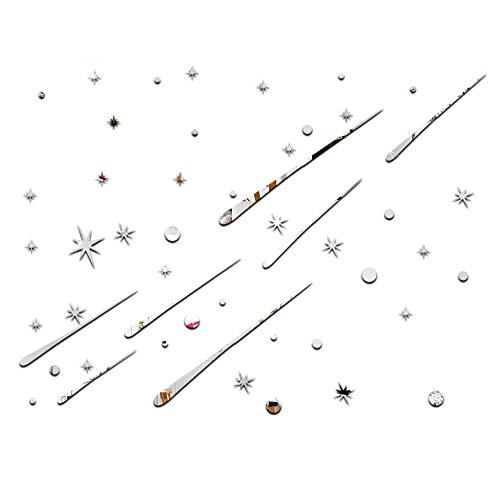 Espejo etiqueta de la pared Espejo de acrílico etiqueta de la pared Meteor estrella de bricolaje superficie del espejo Adhesivos de pared 3D Arte Ronda etiqueta de la pared Espejo del arte DIY decorat