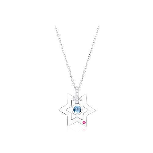 GYXYZB Smart Six-Pointed Star Blue Topa Wit Goud Hanger Korte sleutelhanger Ketting Vrouw Zilver Sieraden