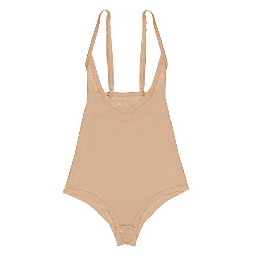 iEFiEL Transparent Mesh Damen Body Spaghettiträger Top Unterhemd Bodysuit Brustfrei Gogo Clubwear Belly Dance Tanzanzug Nackt One Size