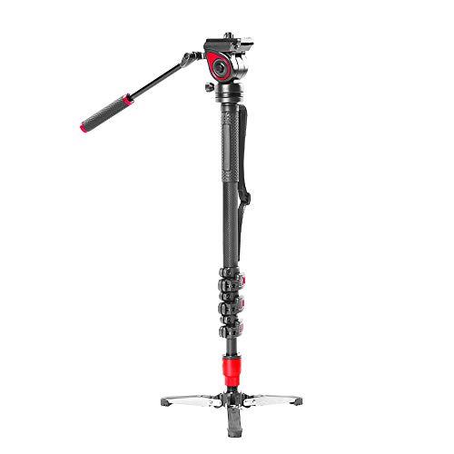 Walmeck- Monopiede Miliboo MQB per Fotografia in Fibra di Carbonio 4 kg capacità di carico 144 cm Max. Altezza con Base fluida Staccabile con Base a treppiede per Smartphone con Fotocamera DSLR