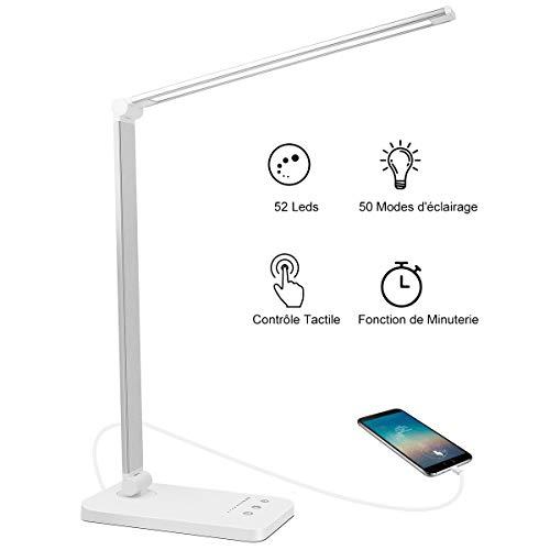 AUELEK Lampe de Bureau LED, 52 LED Lampe de Chevet Tactile Flexible 5 modes de couleur 10 Niveaux d'intensité Réglable, 2000mAh USB rechargeables avec minuterie LED Lampes de table(Argent)