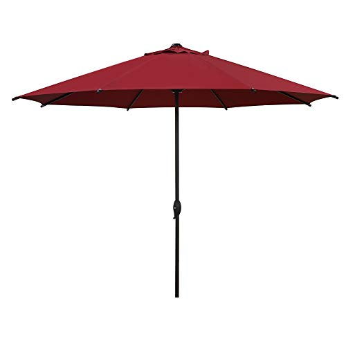 Abba Patio 11ft Patio Umbrella Outdoor Umbrella Patio Market Table Umbrella with Push Button Tilt and Crank for Garden, Lawn, Deck, Backyard & Pool, Red