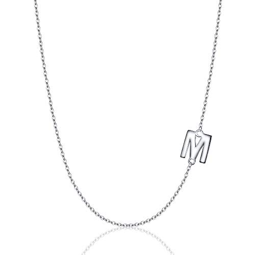 EVER FAITH 925 Sterling Silver Dainty Tiny Alphabet Initial Jewelry Sideways Mini Letter M Choker Necklace for Women Girls