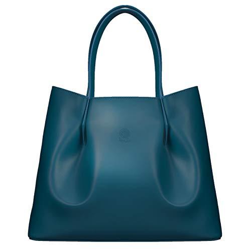 ROSA LOU FIRENZE Damen Leder Tasche - Shopper Made in Italy - Groß Schultertasche - Designer und Elegant Handtasche (Blaugrün)