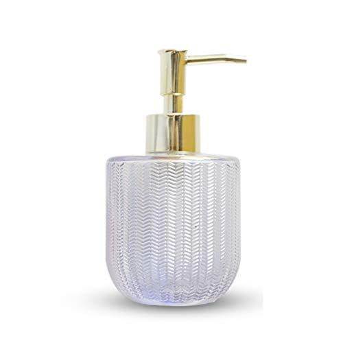 Seifenspender für Küche, Bad - Keramikflasche mit Edelstahlpumpe - Nachfüllbarer Händedesinfektionsapparat Tragbarer Lotionflaschen-Flüssigkeitsspender/pearl white