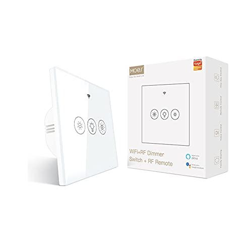 MOES Smart Alexa Wlan RF433 Touch Dimmer della luce, interruttore Smart Home WiFi, luce a LED, interruttore dimmer compatibile con Alexa Echo e Google Home Assistant Smart Life Tuya