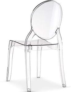 Menzzo Lot de 4 chaises Diva Plexi Transparent