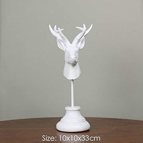 ahjs457 Decoración Retro Cabeza de Ciervo Resina estatuilla Animal Escritorio Miniatura Oficina Bar decoración decoración del hogar Estatua-Blanco