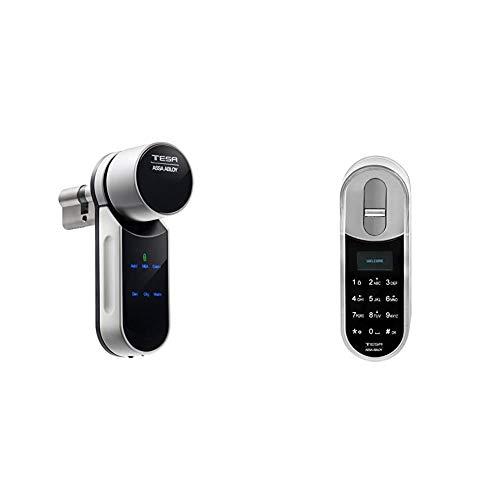Tesa Assa Abloy ENTRKIT1T604035 Cerradura Inteligente Motorizada, Blanco, 40 x 35 mm + Assa Abloy ENTR Teclado biométrico para cerradura inteligente motorizada (Smart lock)