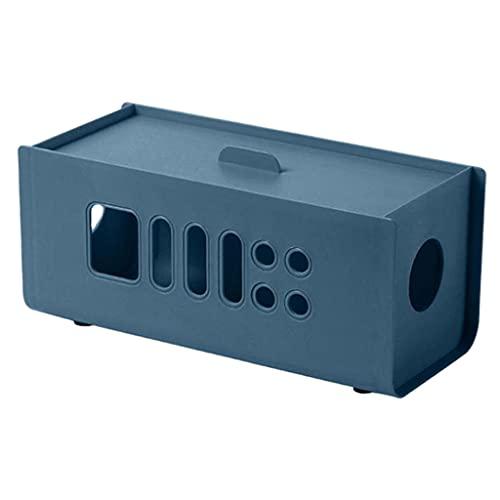 #N/A/a Caja de administración de Cables Caja organizadora de Cables, Caja de protección para Cables Soporte para Tableta para teléfono para Ocultar Cables - Azul