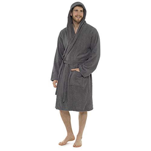 Albornoz para hombre, 100% algodón, toalla de rizo, cuello de chal, albornoz, bata de baño, perfecto para gimnasio, ducha, spa, hotel, vacaciones, gris oscuro, L/XL ✅