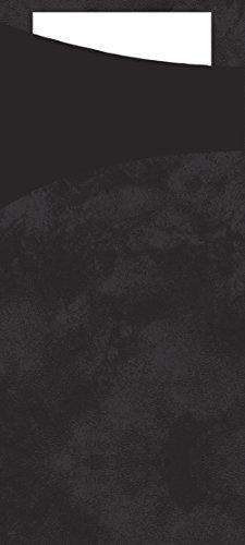 Duni Sacchetto Quad Mez bestek zakken met gevouwen tissue-servetten binnen, 8,5 cm x 19 cm, zwart Sacchetto en wit servet (500 stuks)