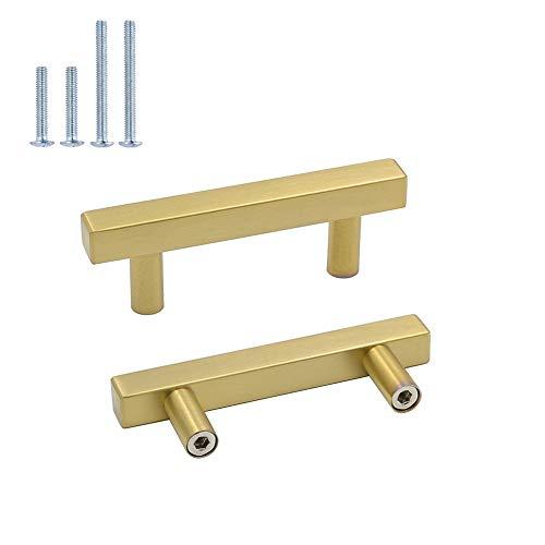 5pieza Muebles acero inoxidable tubo cuadrado oro Puerta Fahrradgriffe LS1212gd latón Armario Tirador cajón Tirador para Incluye Tornillo