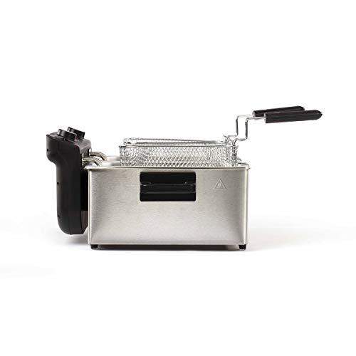 LIVOO Feel good moments - Friggitrice elettrica doppia in acciaio inox   2 serbatoi rimovibili   Grande capacità 1,6 KG di patatine fritte   Termostato regolabile 190°C DOC217 Argento