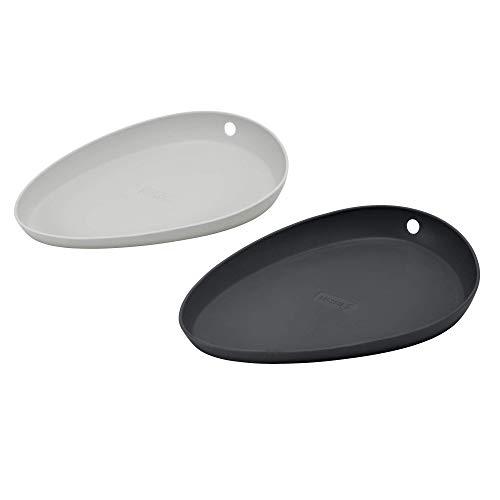 Lurch 70268 Set di 2 poggiamestoli in 100% Silicone platinato di Alta qualità Senza BPA, Colore: Grigio