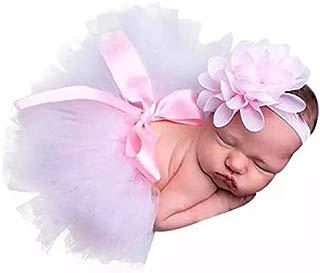 Tutú para sesión de fotos recién nacida color rosa pastel con tiara de flor
