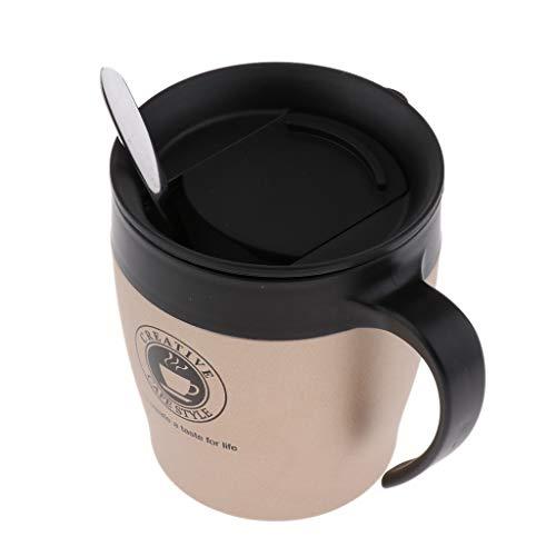 Baoblaze Taza de Café de Doble Pared Taza de Viaje de 350 Ml con Cuchara Espresso Latte - Luz de Oro, Individual