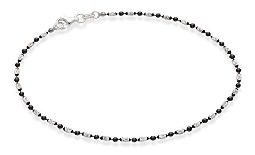 Miabella 925 Sterling Silver Diamond-Cut Oval and Round Bead Ball Chain Anklet Ankle Bracelet for Women Teen Girls, 9, 10 Inch Made in Italy (9, Two-Tone, Black Rhodium-Silver)