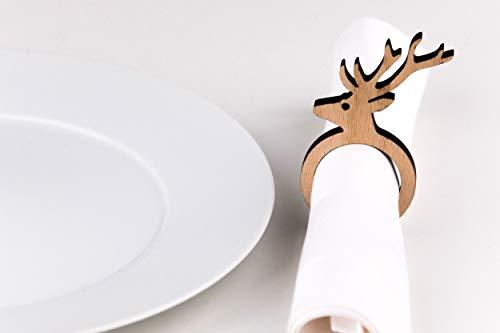 lisel-de Serviettenringe Hirsch aus Holz 4er-Set Serviettenringe für Weihnachten oder Das Ganze Jahr Durchmesser: 4cm