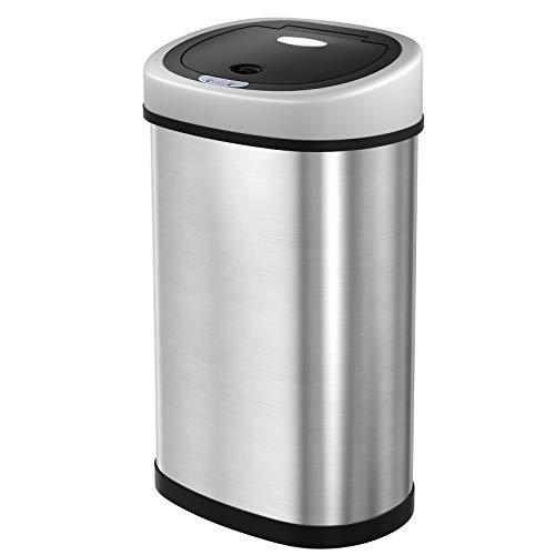 SONGMICS Cubo de busura con Sensor Basurero automático Cubo de Cocina Sensor infrarojo con Anillo de presión Aislar el Olor Acero Inoxidable 50 L Color Plata LTB92NG