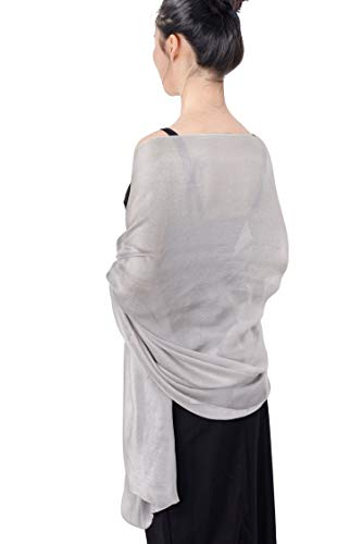 QBSM Womens Sparkly Silver Grey Shawls and Wraps for Evening Dresses, Silky Formal Party Wedding Shawl