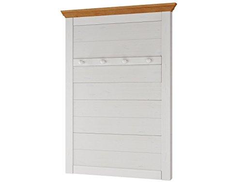 Loft24 Wandgarderobe Kiefer massiv weiß Garderobenpaneel Flurgarderobe Garderobe Landhaus 4 Kleiderhaken 80 x 4 x 105 cm