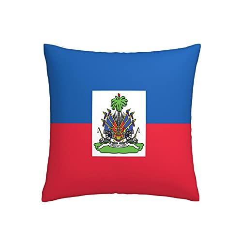 Kissenbezug mit Flagge von Haiti, quadratisch, dekorativer Kissenbezug für Sofa, Couch, Zuhause, Schlafzimmer, drinnen & draußen, niedlicher Kissenbezug 45,7 x 45,7 cm