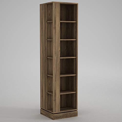 Alphamoebel 4456 Roll Bücherregal Aufbewahrungsregal Holz Drehregal Wandregal, Braun, 6 Fächer, mit Türen, 45 x 180 x 45 cm