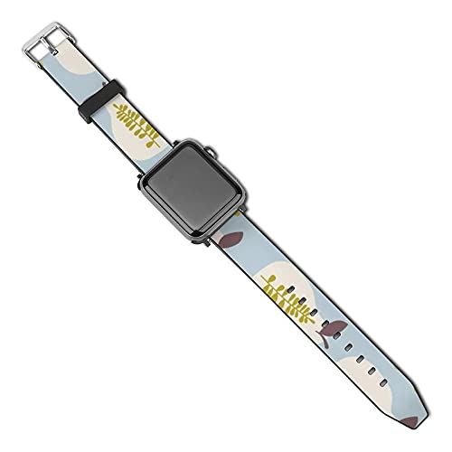 Peras Hojas Resumen Compatible con alimentos y bebidas Correa de reloj de Apple 40 mm 38 mm Correa de reloj compatible con cuero de PU/Correa Compatible con Apple Watch Series 5 4 3 2 1
