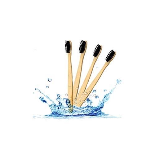 Radianzze Cepillo de Dientes 4 Piezas Bambú Ecológico y100% Biodegradable con Cerdas Suaves Ideal Gingivitis y uso Carbón Activado como Blanqueador Dental
