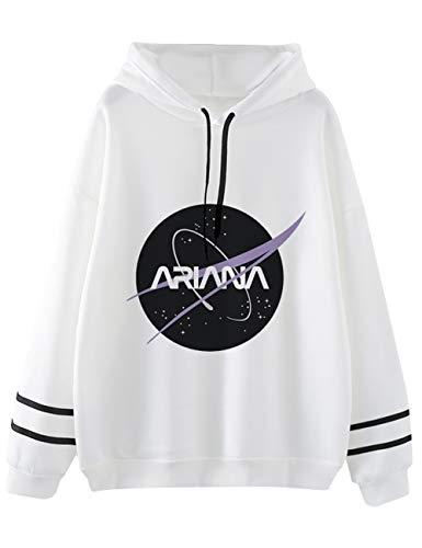 Ariana Grande Felpa per Donna,Trend Singer Ariana Grande Thank u, Next Stampa di Lettere Manica Lunga Maglione Hoodie Pullover Felpa per Donna Ragazza (Bianco3,L)