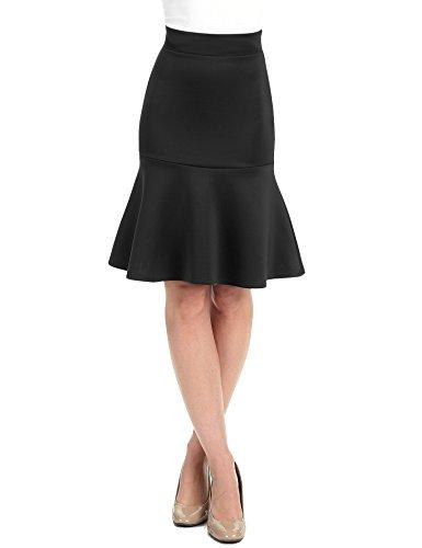 WT1471 Womens High Waist Bodycon Fishtail Midi Skirt M Black