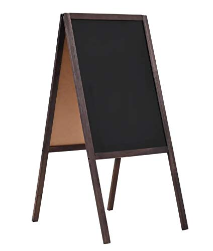 Caballete de Pizarra para Niños, Pizarra de Madera de Pie de Doble Cara, 40 x 60 cm