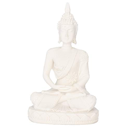 AUNMAS Buddha Meditation Statue, Small Sitting Sandstone Carving Harmonious Figurine Craft Collectible Feng Shui Sculpture Decor for Home Office Desktop Table Decoration, White 4.3Inch