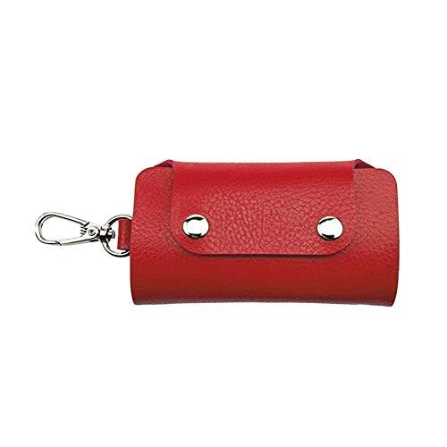 Gzjdtkj Portachiavi per Auto Cuoio Unisex da Auto e Chiave Raccoglitore dell'organizzatore del Supporto della Cassa del Sacchetto Pouch Donne Chiave Uomini Keychain Borse (Color : Red)