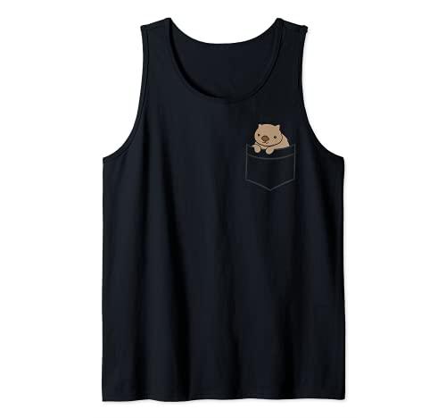 El bebé Wombat en el bolsillo Lindo Wombat australiano Camiseta sin Mangas