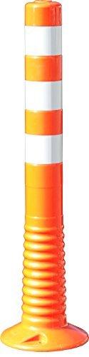 Absperrpfosten Kunststoff, flexiblel und überfahrbar, Ask 80/750, orange mit retroreflektierenden Streifen