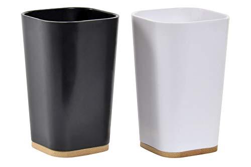 takestop® Juego de 2 vasos de bambú, color blanco y negro, con doble base cuadrada para ahorrar espacio, decoración de casa, cocina, bar