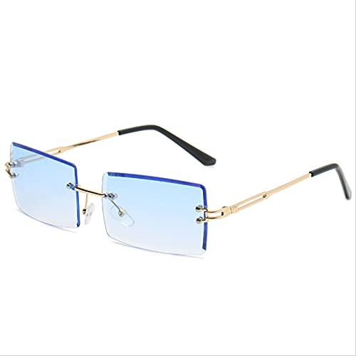 ZHANGMINGXI Gafas De Sol Para Mujer, Gafas De Sol, Color Degradado Cuadrado Con Borde Cortado Sin Marco, Protección Uv Azul claro