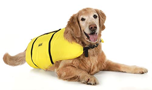 Seachoice 86340 Dog Life Vest - Adjustable Life Jacket for Dogs, with Grab Handle, Yellow, Size Large, 50 to 90 Pounds